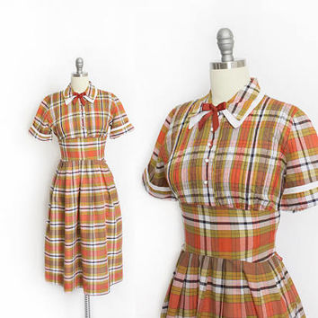 Vintage 1950s Shirt Dress - Plaid Cotton Orange Full Skirt Pleated Day Dress - Small