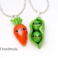 Kawaii Carrot and Peas Best Friends Necklaces - Made to order
