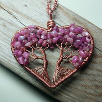 Valentines Heart Tree of Life Pendant Pink Tourmaline Wire Wrapped  Double Tree Yggdrasil Gemstone Pendant Couples pendant girlfriend gift