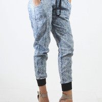 Acid Wash Denim Jogger Pants with Black Cuffs & Waistband Drawstring