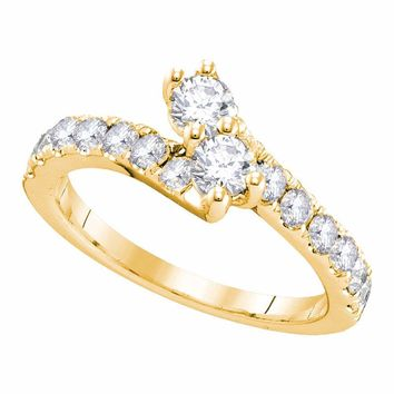 14kt Yellow Gold Womens Round Diamond 2-stone Hearts Together Bridal Wedding Engagement Ring 3/4 Cttw (Certified)