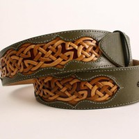 Handmade Leather Belt, Celtic Belt, green belt, tooled belt CELTIC TRILOGY BELT | EthosCustomBrands - Accessories on ArtFire