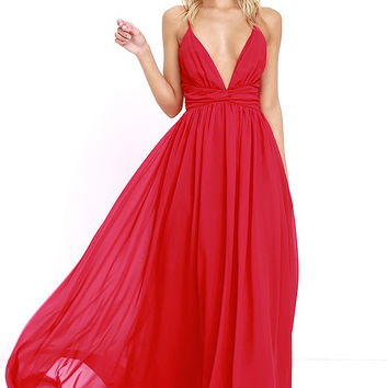 Evening Dream Red Maxi Dress