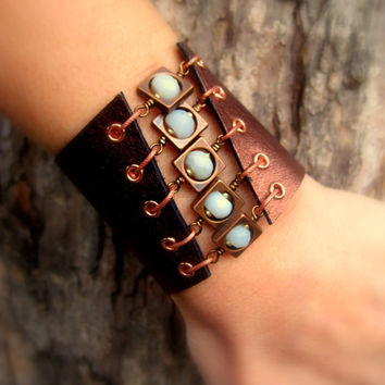 Copper & Blue Amazonite Gemstone Metallic by SmitherineDesigns