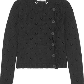Valentino - Ruffled pointelle-knit wool sweater