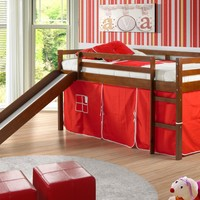 Twin Tent Loft w/ Slide Espresso Finish / Red Tent