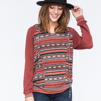 Full Tilt Printed Womens Raglan Hoodie Multi  In Sizes