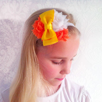 Orange Baby, Child Headband, Stretchy Floral Headband, Fashion Hair Accessories, Shabby Chic, Infant Headband, Newborn, Baby Gift Ideas