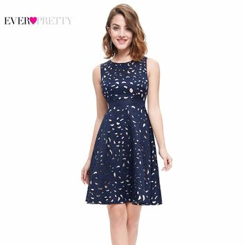 Autumn Women Cocktail Party Dress 2017 EP05432NB Elegant A-Line Mini Navy Blue Lady Cocktail Dresses