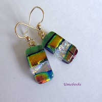Layered Dichroic Fused Glass Dangle Earrings in Green, Gold, Iridescent Colors