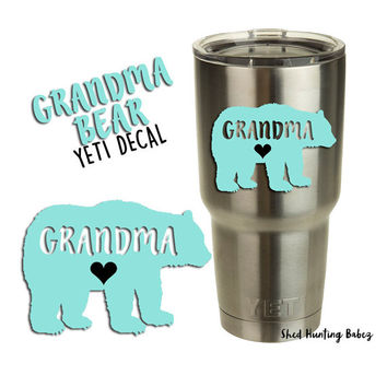 GRANDMA BEAR Decal Yeti Tumbler Decals | 12 colors to pick from!