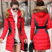 2014 New Brand Fashion Clothing Fur Hooded Zipper Long Style Women Warm Down Coat Winter parkas coat = 1929684612