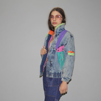 1980s Vintage 80s Colorblock Acidwash Chemical Wash Neon Denim Jean Ja – Vanguard Vintage Clothing