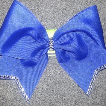 "Cheer Bow with ""rhinestone"" tips and knot"