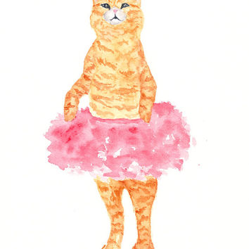 Cat art, watercolor cat painting, cat print, watercolor painting, cat nursery art, cat illustration, children's art, cat tutu - 5X7 print