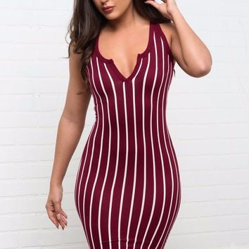 Kimberly Striped Dress - Burgundy