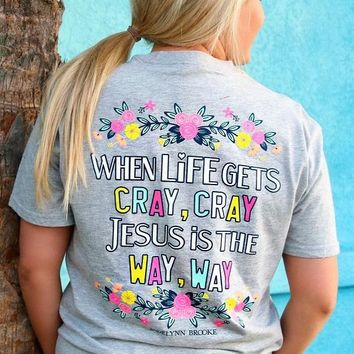 Jadelynn Brooke Jesus Is The Way (Light Heather Grey) - Short Sleeve / Pocket Tee