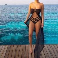 Cover ups Bikini Beach Cover Up 2018 Sexy Beachwear Women Beach Dress Summer Chiffon Strapless Cardigan Bikini  Swimwear Vestidos KO_13_1