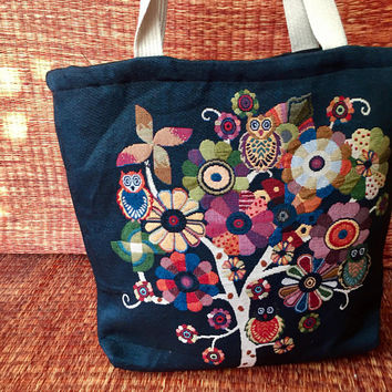 Tote Bag Boho Owl Floral Art colorful print fashion Monogram Handbag market bag School Overnight Shopping Bag Festival gift Black blue