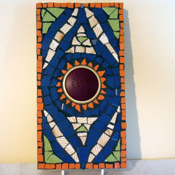 Wall Art hanging Mosaic Mixed Media Mexican Sun by Margalita