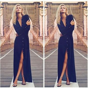 Sexy Long Sleeve Button High Split Gown Prom Long Dress Evening Dresses Maxi Dress