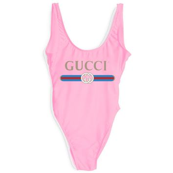 GUCCI New Fashion Letter Print Red And Blue Stripe Swimsuit One Piece Bikini Suit Pink