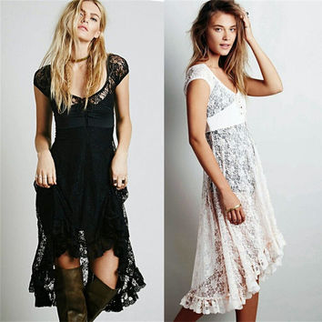 New Fashion Sexy Women's Floral Lace Bridesmaid Gothic Prom Club Party Beach Party High Low Dress