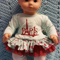 "Baby Doll Clothes ""Glitter Me Paris"" 15 inch doll outfit Will fit Bitty Baby® Bitty Twins®  dress, leggings, socks, headband eiffel tower"