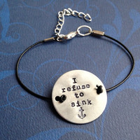 Custom Hand Stamped Aluminum Circle Charm with Leather Cord Bracelet- Choose Your Phrase, Font, and Color