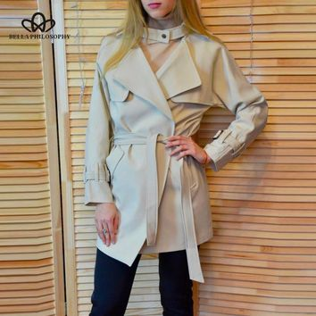 Bella Philosophy 2018 Autumn Winter Jacket Women Casual Belt Pocket Coat Female Loose Raincoat Long Sleeve Outwears For Ladies