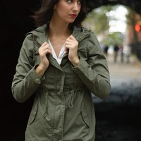Got a Hold on Me Hooded Military Jacket - Olive from Ambiance Apparel at Lucky 21