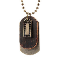 Vintage D&D Style Men's Leather Pendant Necklace Dog Tag Chain (Gold, Brown)