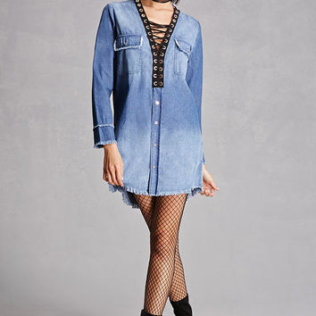 Denim Lace-Up Shift Dress