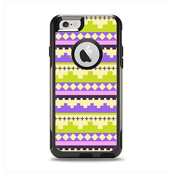 The Purple & Green Tribal Ethic Geometric Pattern Apple iPhone 6 Otterbox Commuter Case Skin Set