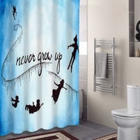 Peter Pan Never Grow Up specials custom shower curtains that will make your bathroom adorable.