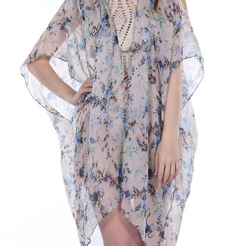 Sheer Woven Sleeved Floral Print Duster-Blue