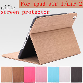 Wood Grain Flip Ultra Thin Foldable Stand Leather Case Smart Cover for apple ipad Air ipad5 automatic sleep for ipad air 2 ipad6