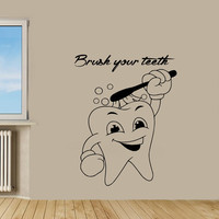Cute Tooth Wall Decals Brush Your Teeth Wall Quotes Vinyl Decal Sticker Bath Words Bathroom Home Decor Art Mural Kids Room Design KG616