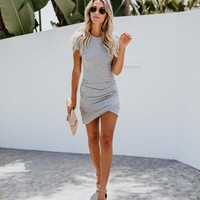 Your New Go To Ruched Shirt Dress - Grey