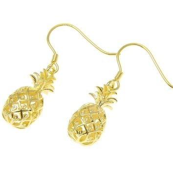 YELLOW GOLD ON STERLING SILVER 925 HAWAIIAN 3D PINEAPPLE HOOK EARRINGS 8.35MM
