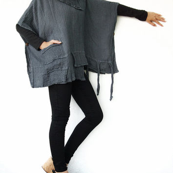 NO.83 Bluish Grey Double Cotton Gauze Wing Top- Cape- Poncho