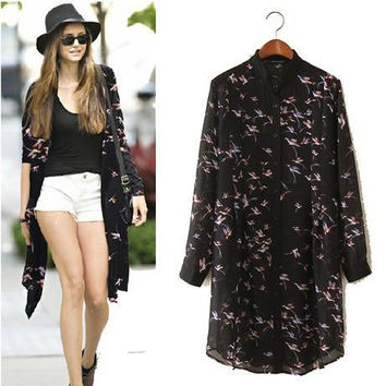 Print Chiffon Shirt Rashguard One Piece Dress [6331508292]
