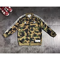 Bape Aape & Adidas New fashion bust letter leaf print and back letter leaf print sports leisure stripe camouflage couple long sleeve top coat Army Green