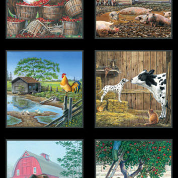 Elizabeth's Studio Farm Life Block Panel, Farm Animal Blocks, Black