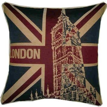 London Big Ben Union Jack Woven Tapestry Cushion Cover Sham Pillow