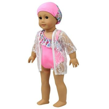 Swimming Pool beach RCtown Cute Summer Swimming Suit for 18 Inch American Girl Doll Girl Toy Gift D30Swimming Pool beach KO_14_1