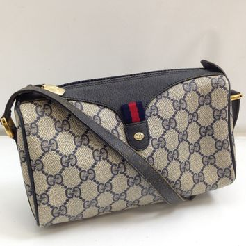 Authentic Gucci GG pattern Shoulder Bag Navy Vintage 7L080370#