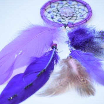 Purple Dreamcatcher, Mini  Car Dreamcatcher with Amethyst stone,Car Accessorie, Car Mirror Charm, Native American Art.