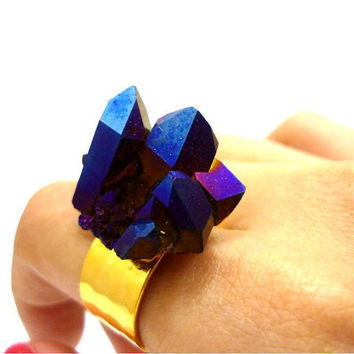 Titanium Quartz Cobalt Blue Rainbow Crystal Druzy Ring by AstralEYE