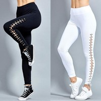 lace up leggings pants